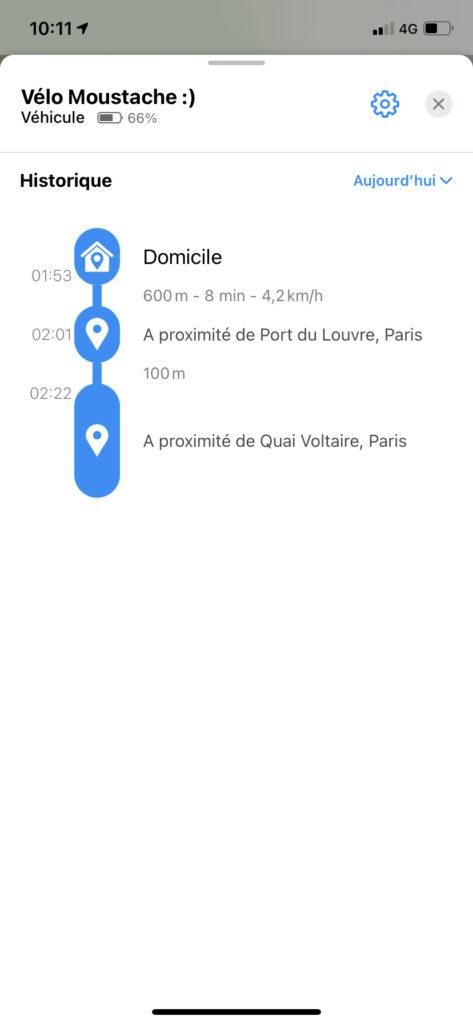 Screenshot of Invoxia GPS App showing journey history.